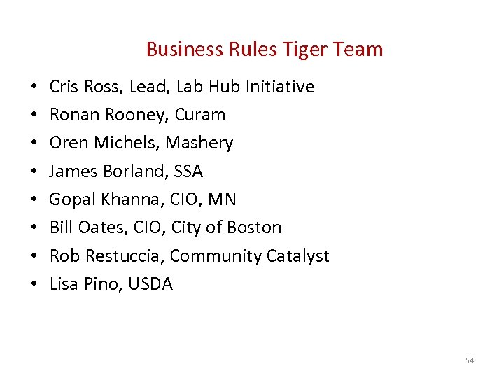 Business Rules Tiger Team • • Cris Ross, Lead, Lab Hub Initiative Ronan Rooney,