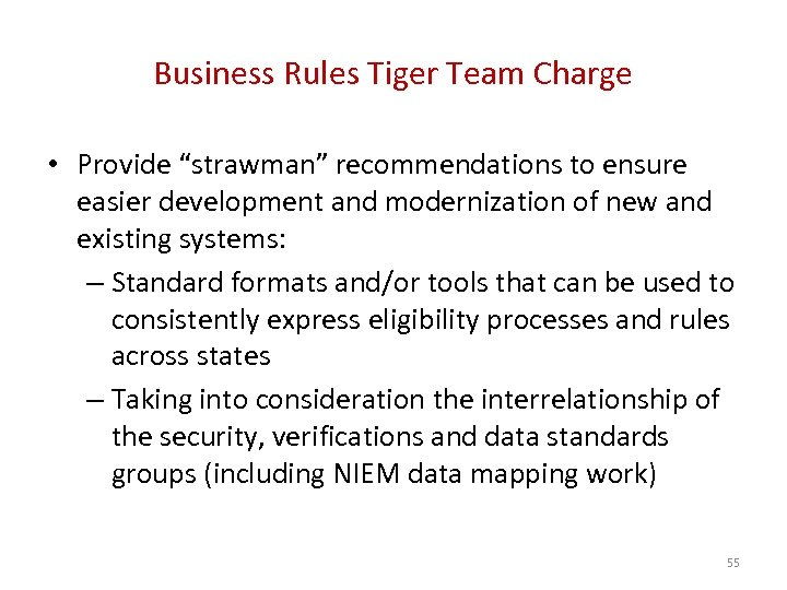 """Business Rules Tiger Team Charge • Provide """"strawman"""" recommendations to ensure easier development and"""