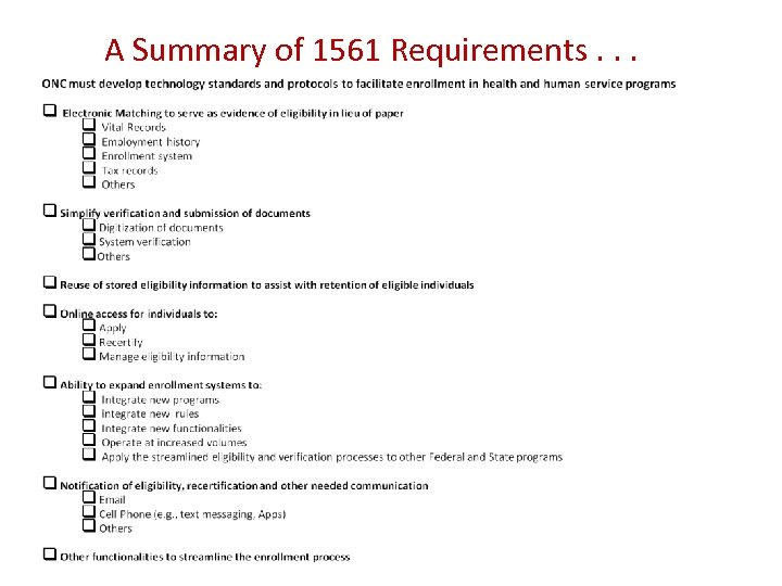 A Summary of 1561 Requirements. . .