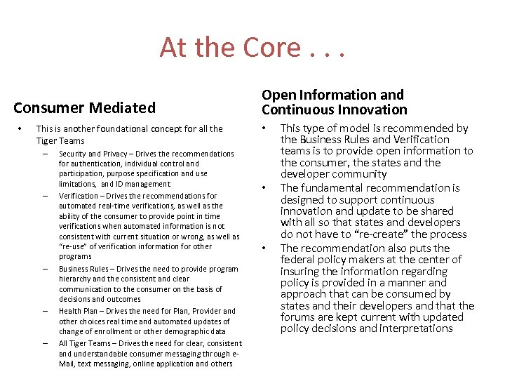 At the Core. . . Consumer Mediated • This is another foundational concept for
