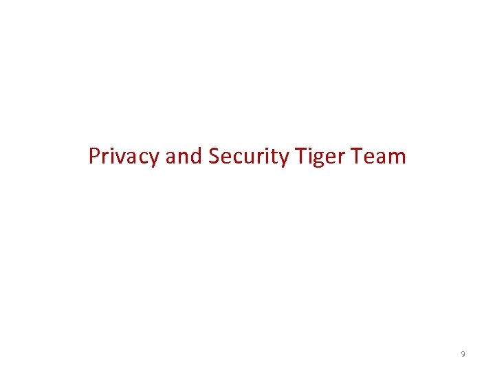 Privacy and Security Tiger Team 9