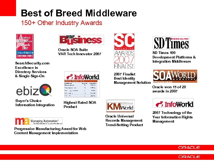 Best of Breed Middleware 150+ Other Industry Awards Oracle SOA Suite VAR Tech Innovator
