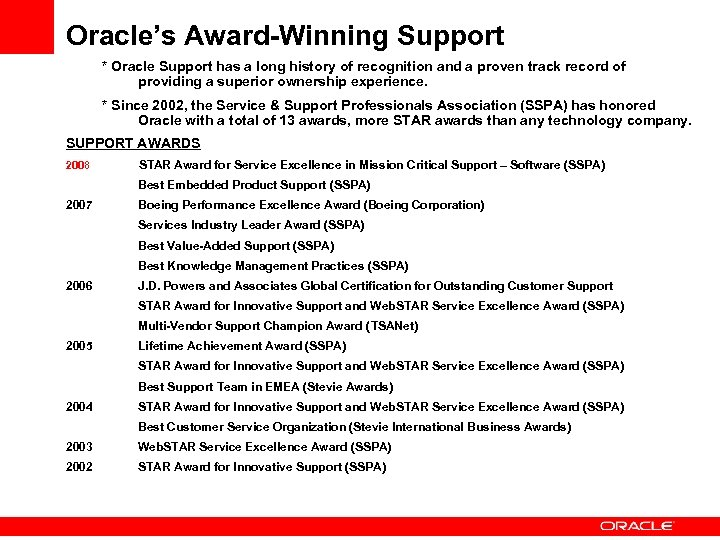 Oracle's Award-Winning Support * Oracle Support has a long history of recognition and a