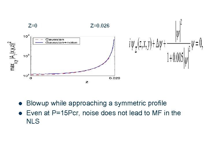 Z=0 l l 12 Z=0. 026 Blowup while approaching a symmetric profile Even at