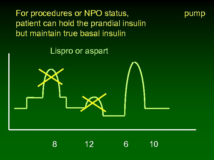 For procedures or NPO status, pump patient can hold the prandial insulin but maintain