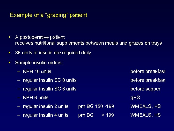 "Example of a ""grazing"" patient • A postoperative patient receives nutritional supplements between meals"