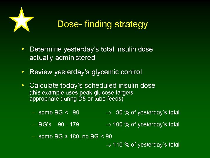 Dose- finding strategy • Determine yesterday's total insulin dose actually administered • Review yesterday's