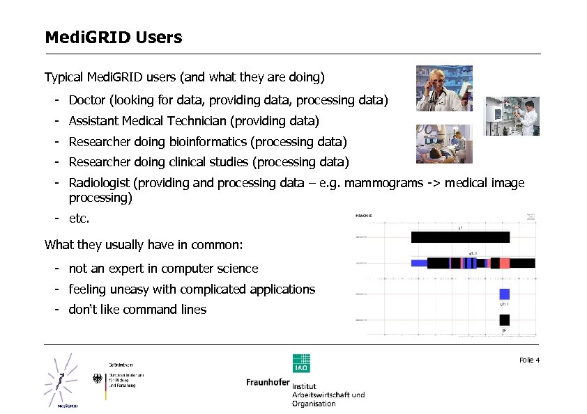 Medi. GRID Users Typical Medi. GRID users (and what they are doing) - Doctor