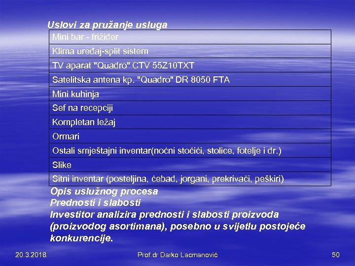 Uslovi za pružanje usluga Mini bar - frižider Klima uređaj-split sistem TV aparat