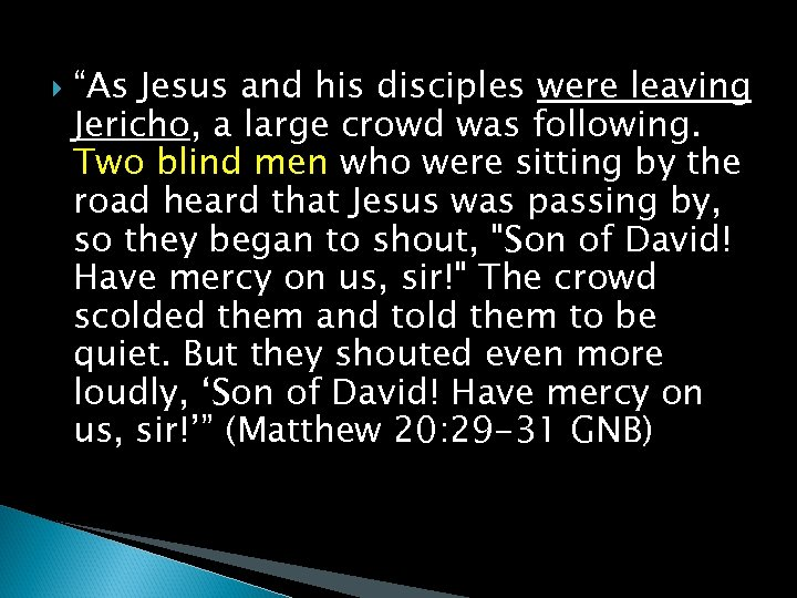 """""""As Jesus and his disciples were leaving Jericho, a large crowd was following."""