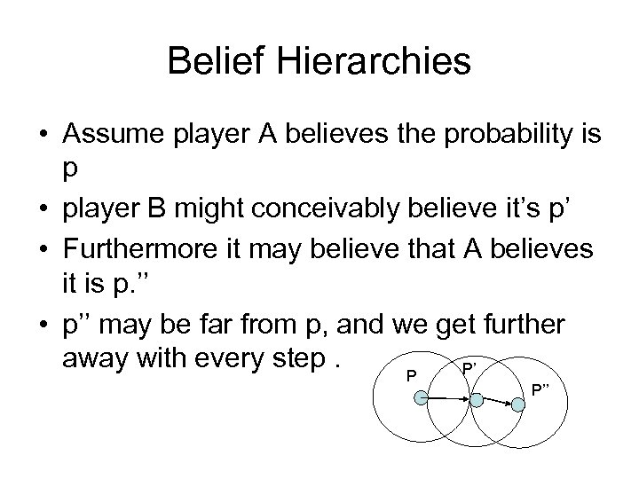 Belief Hierarchies • Assume player A believes the probability is p • player B