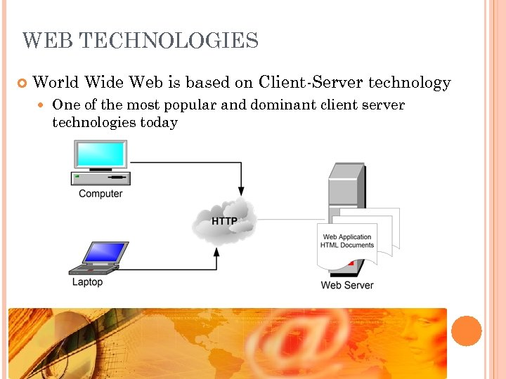 WEB TECHNOLOGIES World Wide Web is based on Client-Server technology One of the most