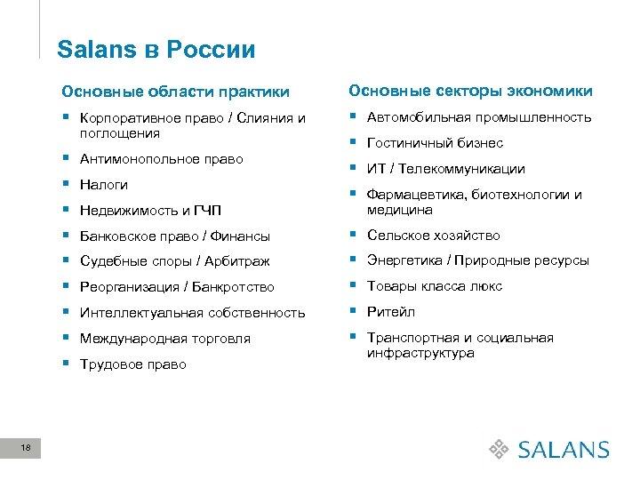 Salans в России Основные области практики Основные секторы экономики § Корпоративное право / Слияния