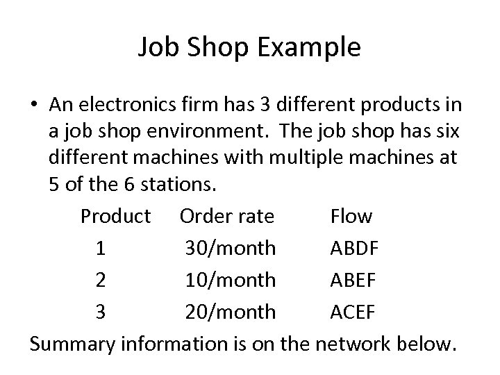 Job Shop Example • An electronics firm has 3 different products in a job