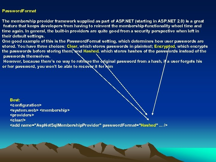 Password. Format The membership provider framework supplied as part of ASP. NET (starting in