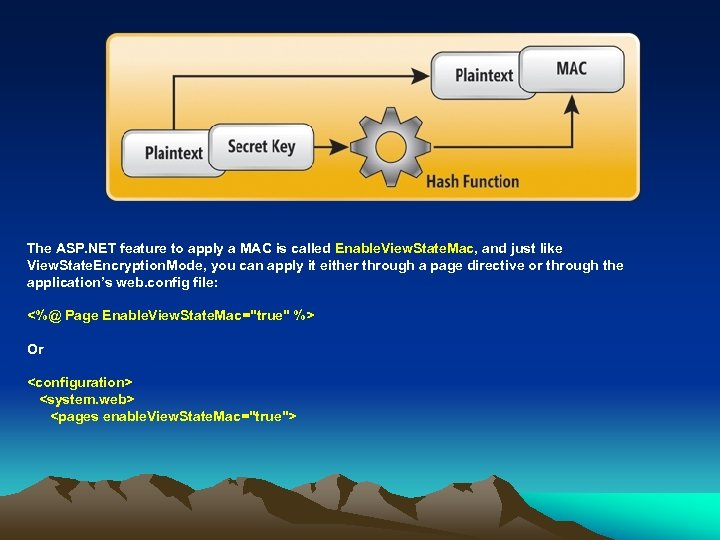The ASP. NET feature to apply a MAC is called Enable. View. State. Mac,