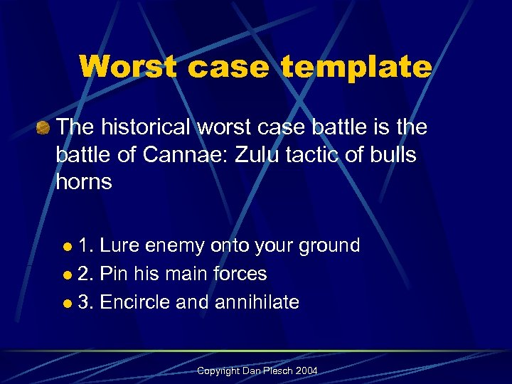 Worst case template The historical worst case battle is the battle of Cannae: Zulu