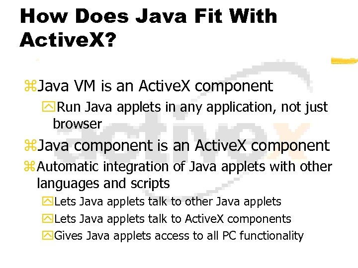How Does Java Fit With Active. X? z. Java VM is an Active. X