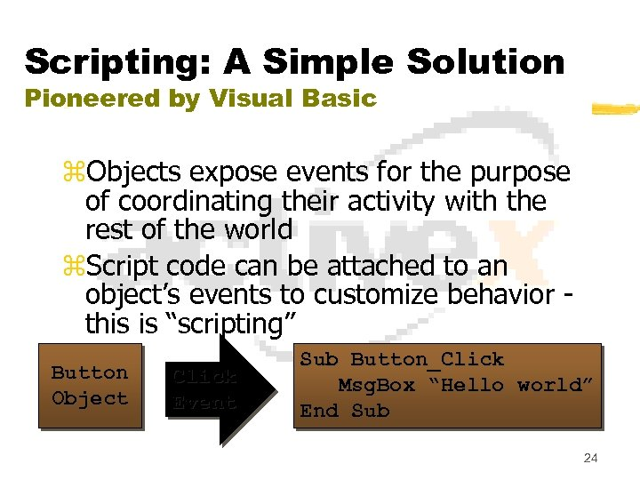 Scripting: A Simple Solution Pioneered by Visual Basic z. Objects expose events for the