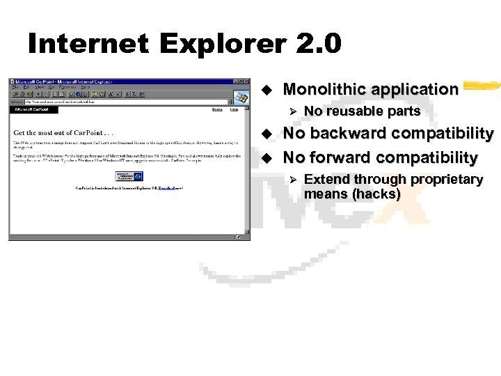 Internet Explorer 2. 0 u Monolithic application Ø u u No reusable parts No