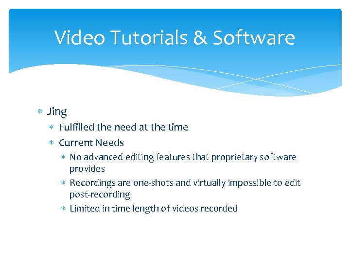 Video Tutorials & Software Jing Fulfilled the need at the time Current Needs No
