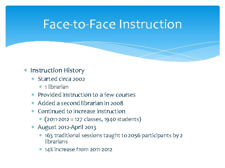 Face-to-Face Instruction History Started circa 2002 1 librarian Provided instruction to a few courses