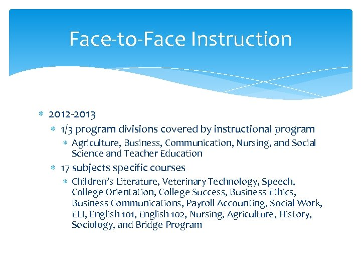 Face-to-Face Instruction 2012 -2013 1/3 program divisions covered by instructional program Agriculture, Business, Communication,
