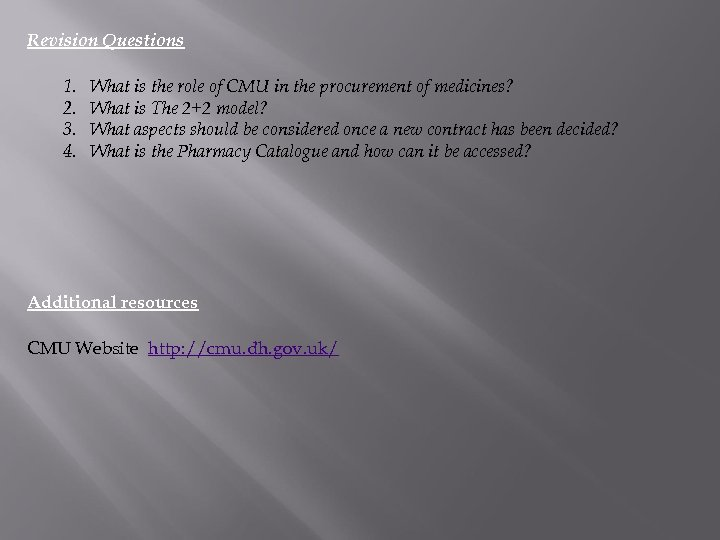 Revision Questions 1. 2. 3. 4. What is the role of CMU in the