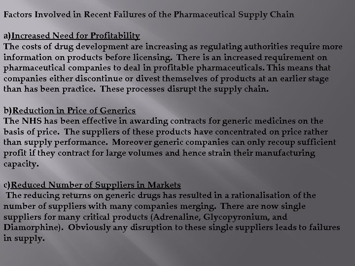 Factors Involved in Recent Failures of the Pharmaceutical Supply Chain a)Increased Need for Profitability