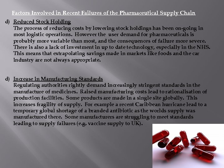 Factors Involved in Recent Failures of the Pharmaceutical Supply Chain d) Reduced Stock Holding