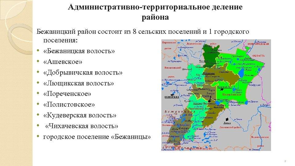 Административно-территориальное деление района Бежаницкий район состоит из 8 сельских поселений и 1 городского поселения: