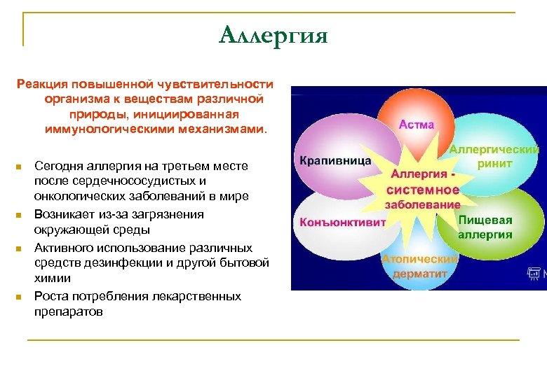 Аллергия Реакция повышенной чувствительности организма к веществам различной природы, инициированная иммунологическими механизмами. Сегодня аллергия