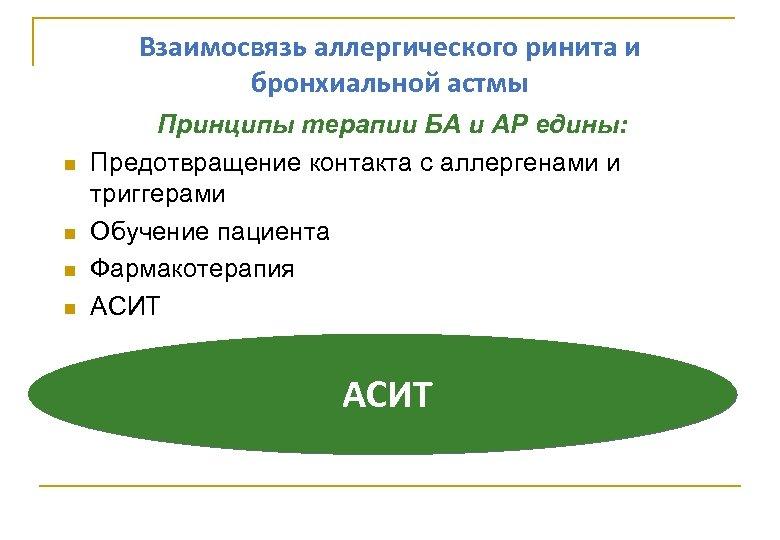Взаимосвязь аллергического ринита и бронхиальной астмы Принципы терапии БА и АР едины: Предотвращение контакта