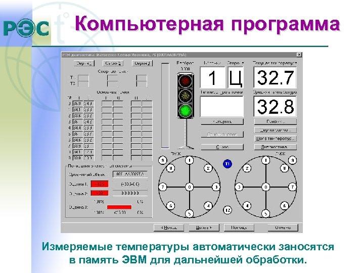 Компьютерная программа Измеряемые температуры автоматически заносятся в память ЭВМ для дальнейшей обработки.