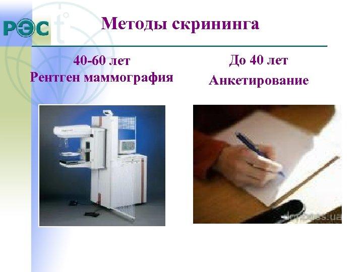 Методы скрининга 40 -60 лет Рентген маммография До 40 лет Анкетирование