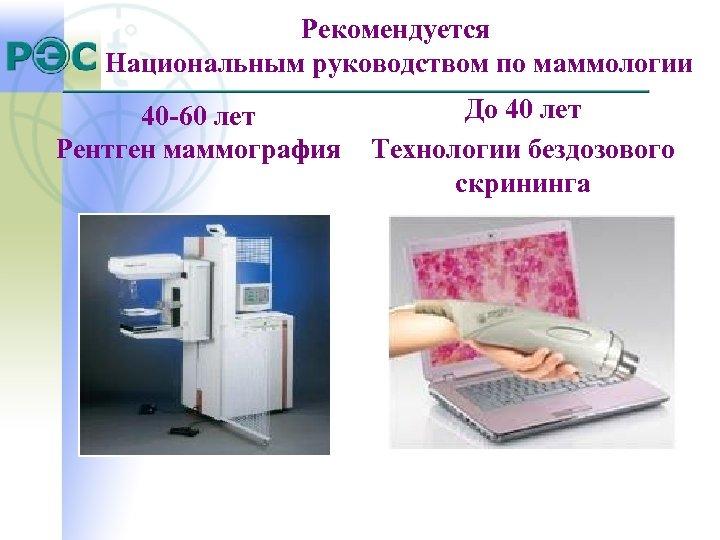 Рекомендуется Национальным руководством по маммологии 40 -60 лет Рентген маммография До 40 лет Технологии