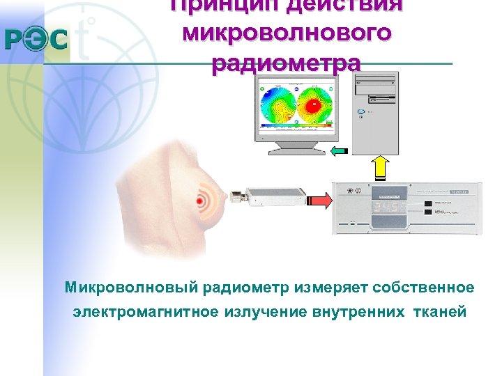 Принцип действия микроволнового радиометра Микроволновый радиометр измеряет собственное электромагнитное излучение внутренних тканей