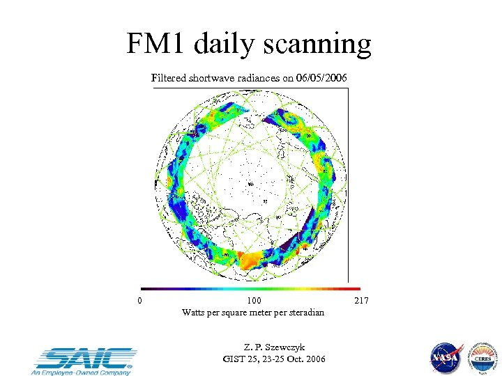 FM 1 daily scanning Filtered shortwave radiances on 06/05/2006 0 100 Watts per square