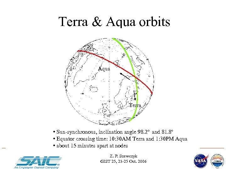 Terra & Aqua orbits Aqua Terra • Sun-synchronous, inclination angle 98. 2 o and