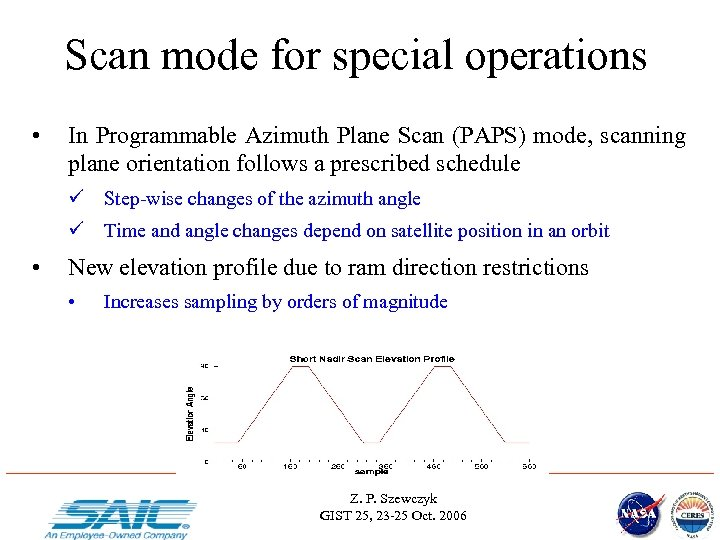 Scan mode for special operations • In Programmable Azimuth Plane Scan (PAPS) mode, scanning