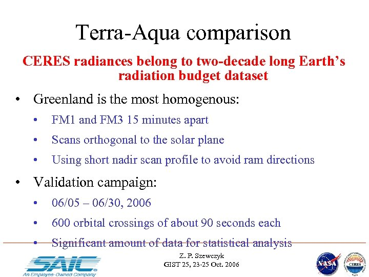 Terra-Aqua comparison CERES radiances belong to two-decade long Earth's radiation budget dataset • Greenland