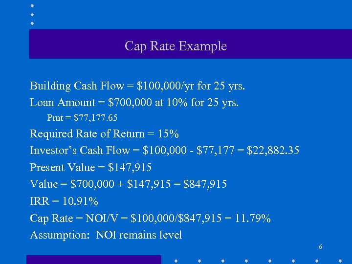 Cap Rate Example Building Cash Flow = $100, 000/yr for 25 yrs. Loan Amount