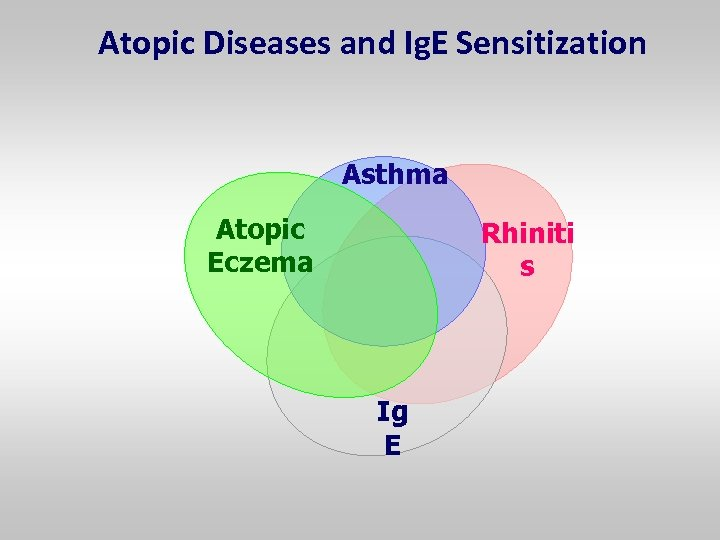 Atopic Diseases and Ig. E Sensitization Asthma Atopic Eczema Rhiniti s Ig E