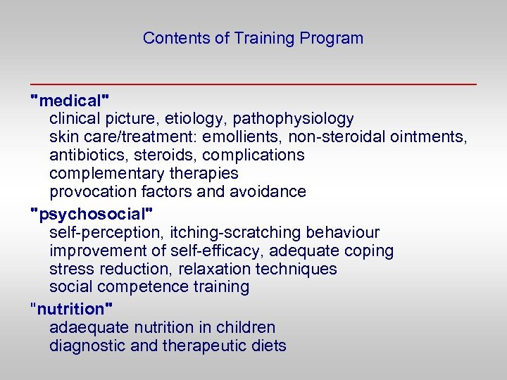 Contents of Training Program