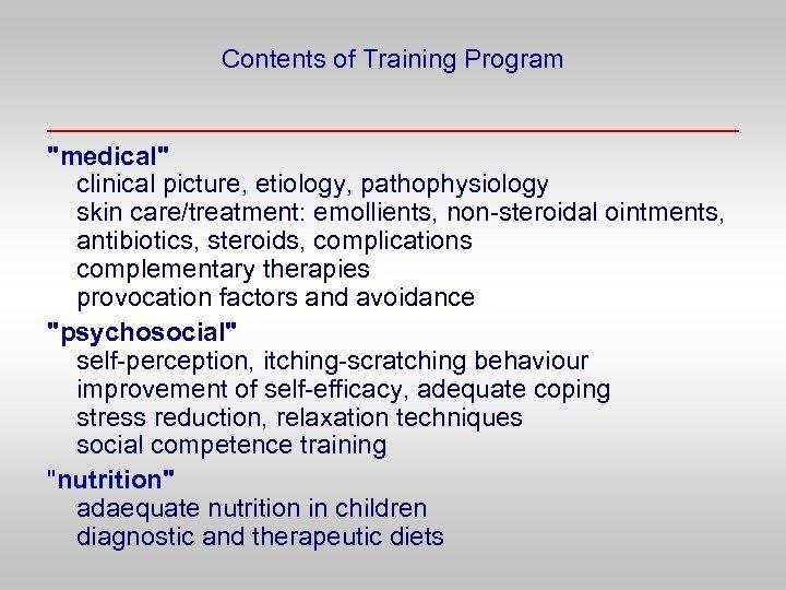 Contents of Training Program
