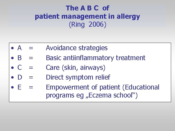 The A B C of patient management in allergy (Ring 2006) • • •
