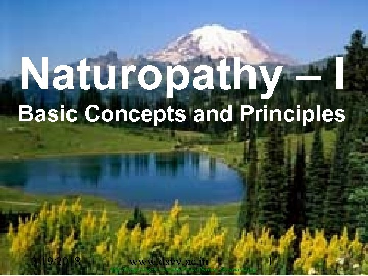 Naturopathy – I Basic Concepts and Principles 3/19/2018 www. dsvv. ac. in http: //blogs.