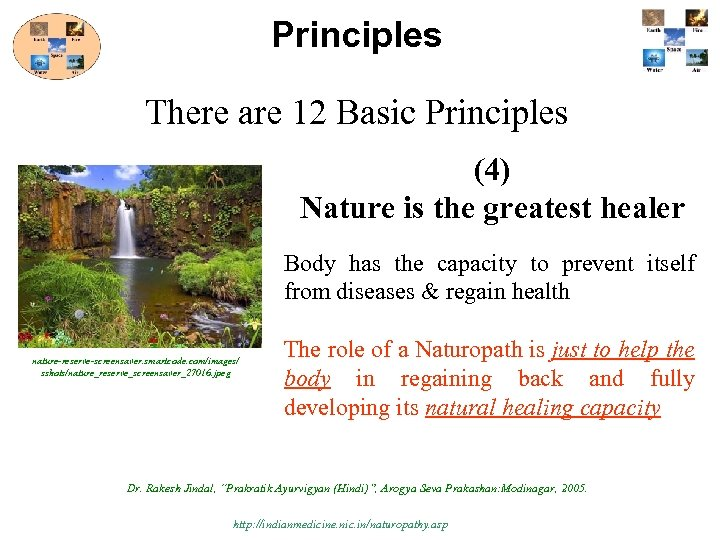 Principles There are 12 Basic Principles (4) Nature is the greatest healer Body has
