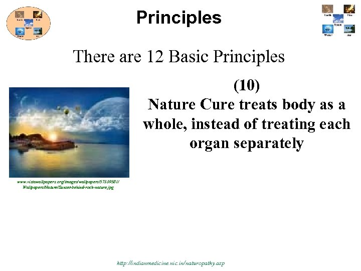 Principles There are 12 Basic Principles (10) Nature Cure treats body as a whole,