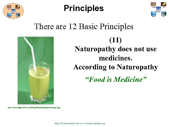 Principles There are 12 Basic Principles (11) Naturopathy does not use medicines. According to